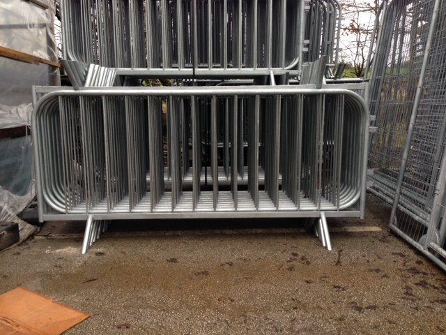 Galvanised Fixed Leg Pedestrian Safety and Crown Control Barriers